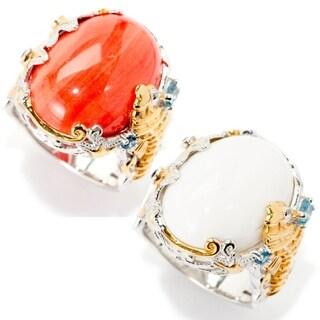 Michael Valitutti Palladium Silver Bamboo Coral & Multi Gemstone Seahorse Ring