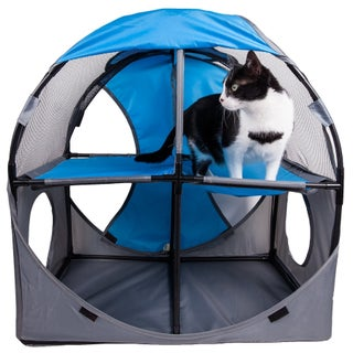 Pet Life Kitty-Play Obstacle Travel Collapsible Soft Folding Pet Cat House (Option: blue, grey)