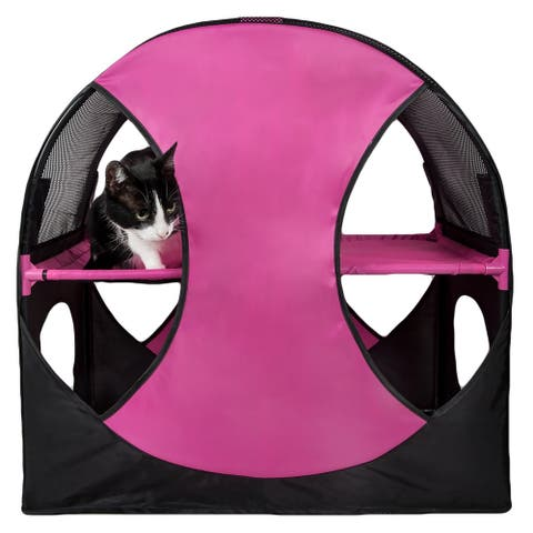 Pet Life Kitty-Play Obstacle Travel Collapsible Soft Folding Pet Cat House