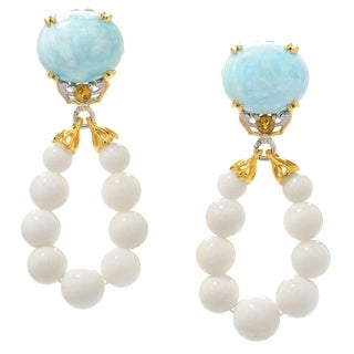 Michael Valitutti Palladium Silver Larimar, Citrine & White Bamboo Coral Bead Drop Earrings - Blue
