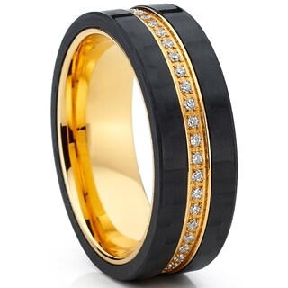Oliveti Goldplated Titanium Eternity Wedding Band Ring with Cubic Zirconia and Carbon Fiber