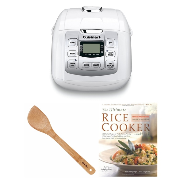 Cuisinart Fuzzy 8-Rice Cooker, White (Refurbished) + Rice Cookbook and Spatula