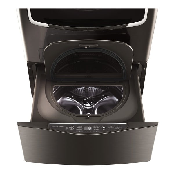 LG WD205CK LG SIGNATURE 1.0 cu. ft. LG SideKick™ Pedestal Washer, LG TWINWash™ Compatible in Black Stainless Steel