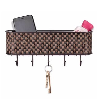"Sweet Home Collection Weave Letter Basket with Key Hooks (10.5""x2.5""x2.5"")"