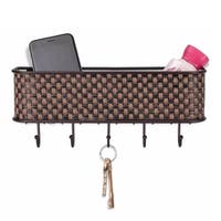 """Sweet Home Collection Weave Letter Basket with Key Hooks (10.5""""x2.5""""x2.5"""")"""