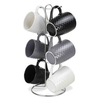"""Sweet Home Collection 6 Piece Stoneware Mug Set with Stand (11oz) (15"""" high)"""