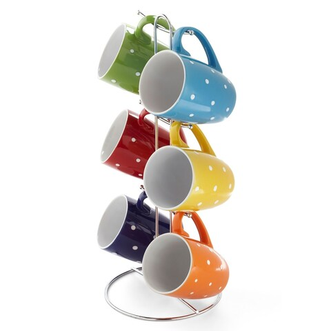 "Sweet Home Collection 6 Piece Polka Dot Mug Set with Stand (11oz) (15"" high)"