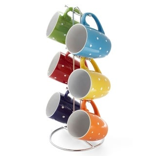 """Sweet Home Collection 6 Piece Polka Dot Mug Set with Stand (11oz) (15"""" high)"""