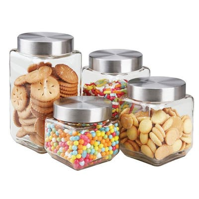 Sweet Home Collection 4 Piece Square Glass Canister Set (27oz, 41oz, 58oz, 68oz)