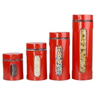 Sweet Home Collection 4 Piece Glass Canister- Red (21oz, 32oz, 44oz, 60oz)
