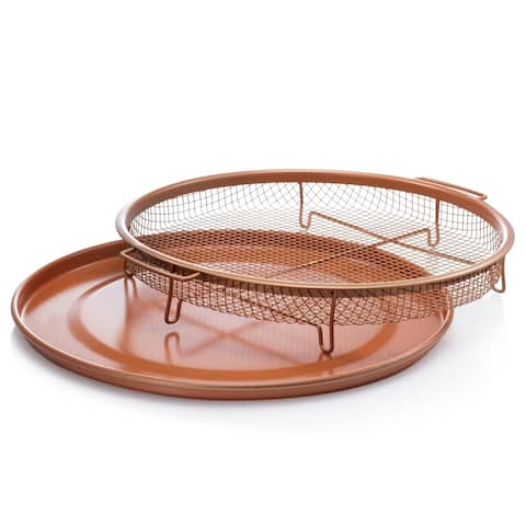 Gotham Steel Round Copper Air Fry Crisper Tray, Pizza & Baking Pan
