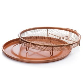 Gotham Steel Round Copper Air Fry Crisper Tray, Pizza & Baking Pan