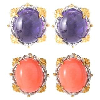 Michael Valitutti Palladium Silver Oval Gemstone Button Stud Earrings