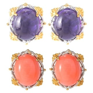 Michael Valitutti Palladium Silver Oval Gemstone Button Stud Earrings