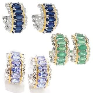 Michael Valitutti Palladium Silver Gemstone Hoop Earrings
