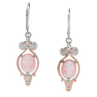 Michael Valitutti Palladium Silver Pink Carved Shell Portrait Cameo Drop Earrings