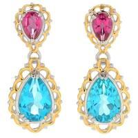 Michael Valitutti Palladium Silver Paraiba Color & Pink Topaz Dangle Earrings - Blue
