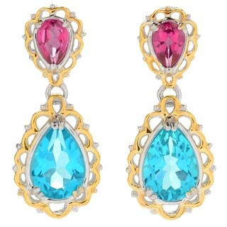 Michael Valitutti Palladium Silver Paraiba Color & Pink Topaz Dangle Earrings - Blue