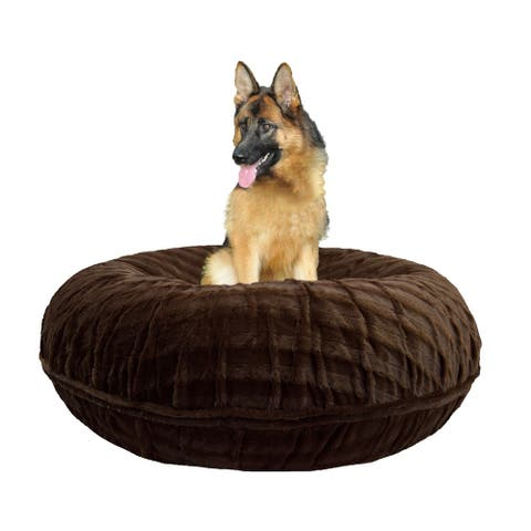 Bessie and Barnie Signature Godiva Brown Luxury Extra Plush Faux Fur Bagel Pet / Dog Bed