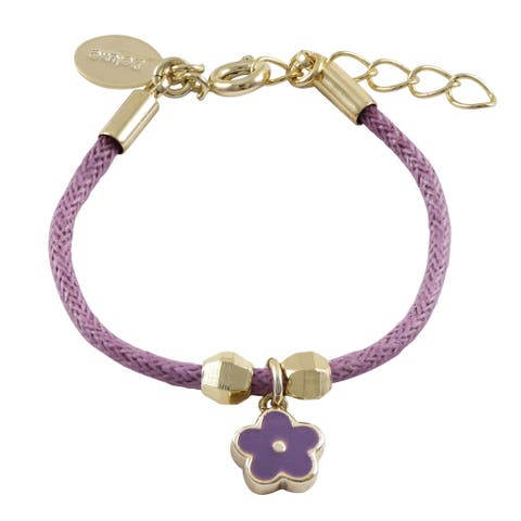 Luxiro Purple Enamel Flower Charm Purple Cord Bracelet