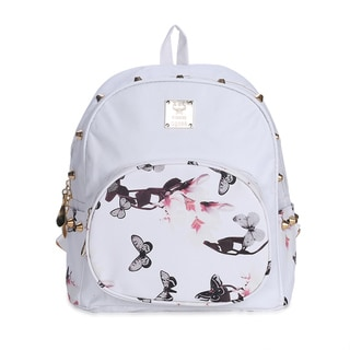 Hakbaho Jewelry Vegan Leather Round Pocket Floral Backpack