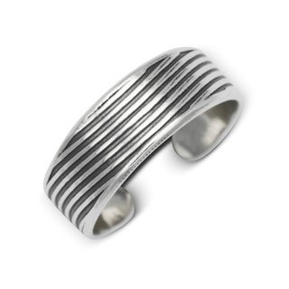 Sterling Silver Bali Oxidized Ribbed Adjustable Toe Ring