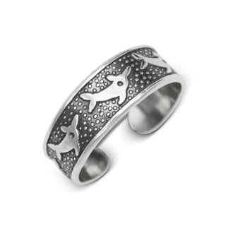 Sterling Silver Bali Oxidized Dolphin Adjustable Toe Ring