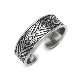 Sterling Silver Bali Oxidized Tribal Adjustable Toe Ring
