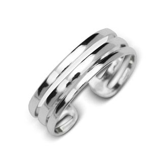 Sterling Silver High Polish Three Row Adjustable Toe Ring