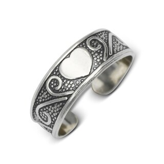 Sterling Silver Bali Oxidized Heart Floral Adjustable Toe Ring
