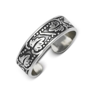 Sterling Silver Bali Oxidized Floral Adjustable Toe Ring