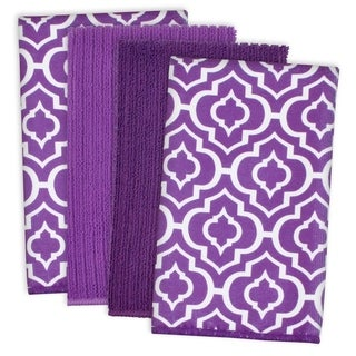 Eggplant Lattice Microfiber Dishtowel Set of 4