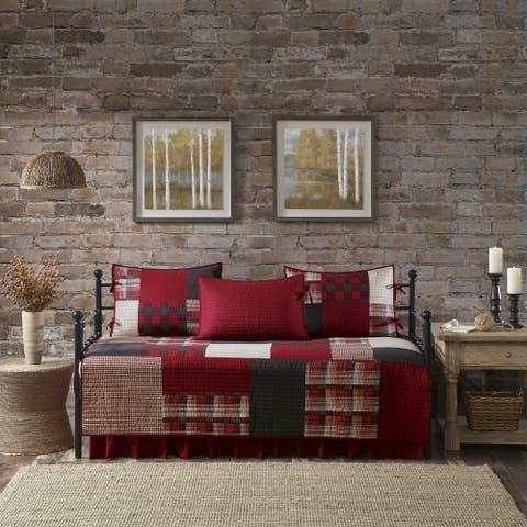 Woolrich Sunset Red Year Round Cotton Printed 5 Pieces Day Bed Cover Set