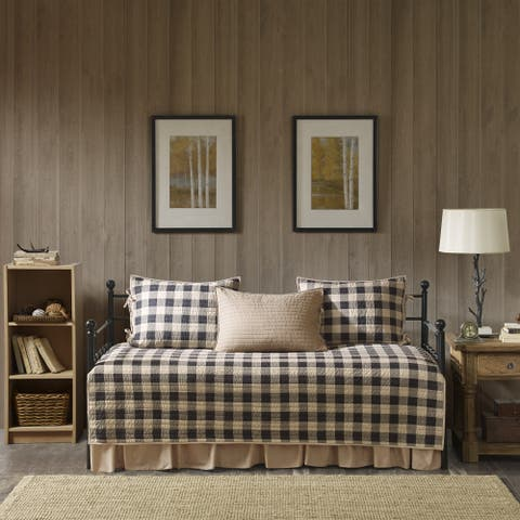 Woolrich Buffalo Check Tan Year Round Cotton Printed 5 Pieces Day Bed Cover Set