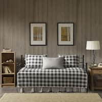 Woolrich Buffalo Check Gray Year Round Cotton Printed 5 Pieces Day Bed Cover Set