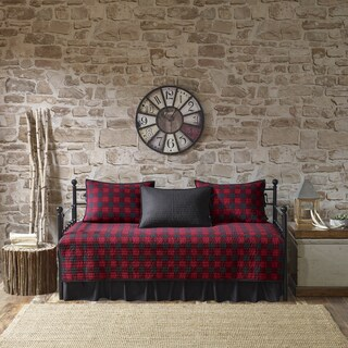Woolrich Buffalo Check Red/ Black Year Round Cotton Printed 5 Pieces Day Bed Cover Set