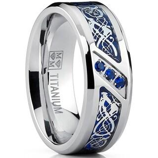 Oliveti Men's Titanium Ring Blue Carbon Fiber and Cubic Zirconia, Dragon Design