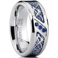 Oliveti Men's Titanium Ring Blue Carbon Fiber and Cubic Zirconia, Dragon Design