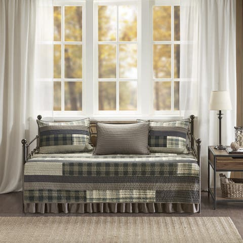 Woolrich Winter Plains Tan/ Gray Year Round Cotton Printed 5 Pieces Day Bed Cover Set