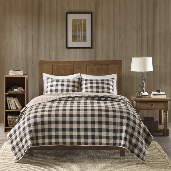 Beige And Coffee Plaid Print Linen Contemporary Bedroom: Shop Woolrich Buffalo Check Tan Year Round Oversized