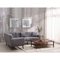 Mid Century Left-Facing Tufted Linen Fabric Upholstered L-Shaped Sectional Sofa
