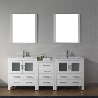 Virtu USA Dior Wood/Ceramic 78-inch Double Bathroom Vanity Set with Faucet Options