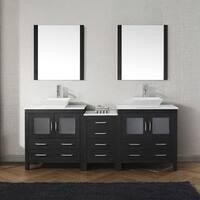 Virtu USA Dior 82-inch White Stone Double Vanity with Faucet Options