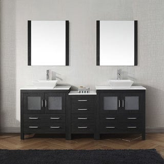 Virtu USA Dior 82-inch White Stone Double Bathroom Vanity Set with Faucet Options