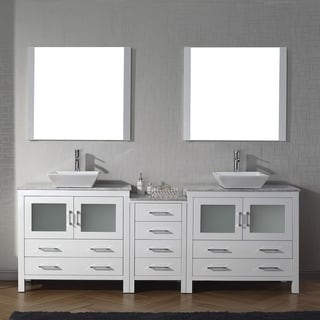 90 Inch Double Bathroom Vanity virtu usa dior 90-inch carrara white marble double bathroom vanity