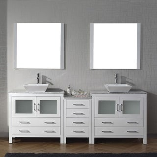 Virtu USA Dior 90-inch Carrara White Marble Double Bathroom Vanity Set with Faucet Options (4 options available)