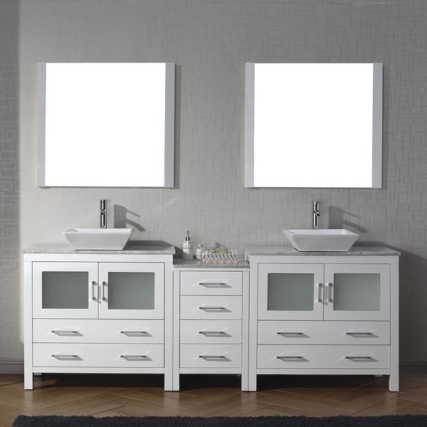 90 Inch Double Sink Bathroom Vanity: Shop Virtu USA Dior 90-inch Carrara White Marble Double