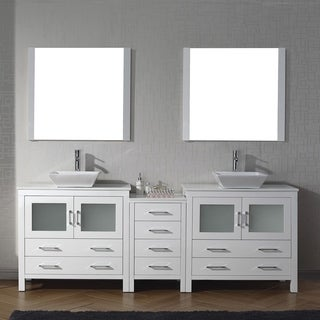 Virtu USA Dior 90-inch White Stone Double Bathroom Vanity Set with Faucet Options