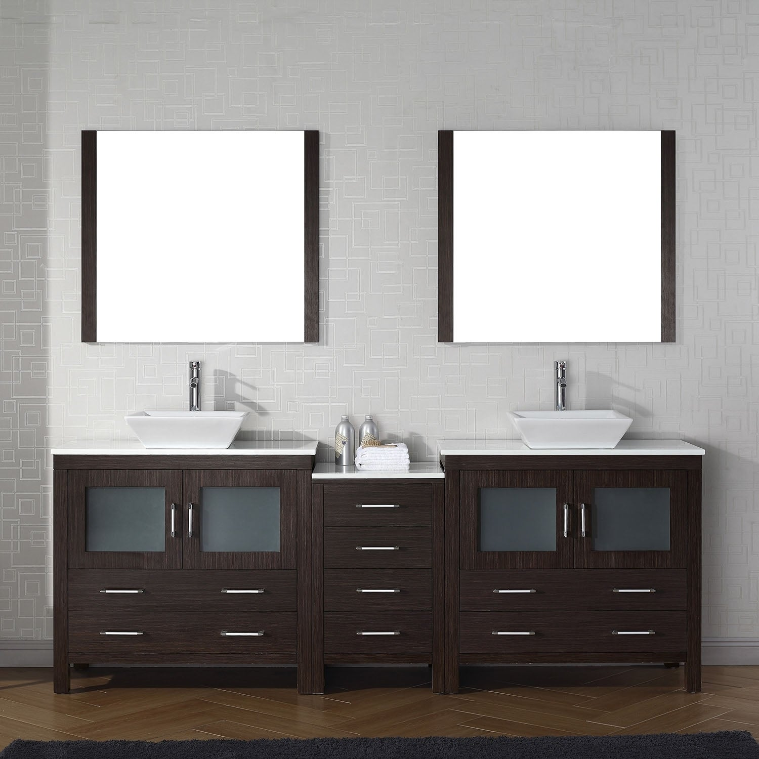 Virtu USA Dior 90-inch White Stone Double Bathroom Vanity Set with ...