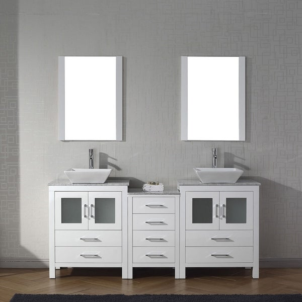 Shop Virtu Usa Dior 74 Inch Carrara White Marble Double Vanity